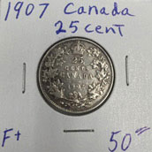 1907 25 cent coin