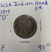 1919 Indian Head five cent piece