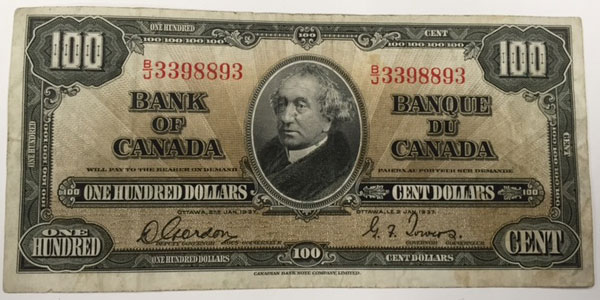 Photo 1 1937 canada one hundred dollar bill