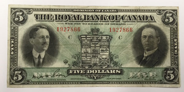 Photo 15 1937 canada five dollar