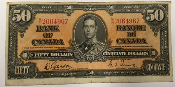 Photo 3 1937 canda fifty dollar bill
