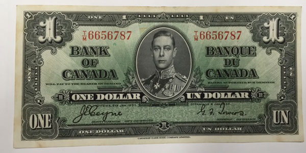 Photo 4 1937 canada one dollar bill