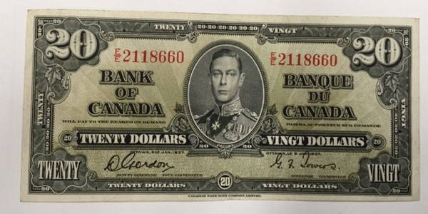 Photo 5 1937 canada twenty dollar bill