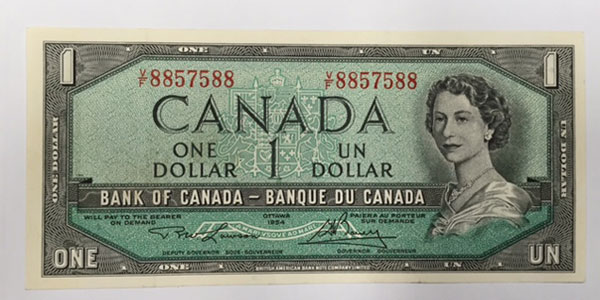 Photo 8 1954 canada one dollar bill