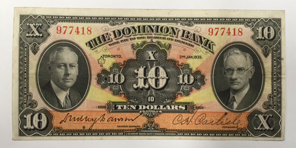 photo 14 1935 canada ten dollar bill